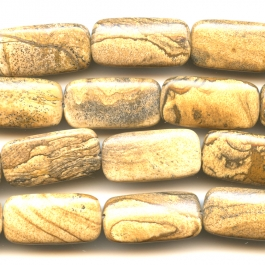 Picture Jasper 15x30mm Oval Beads - 8 Inch Strand