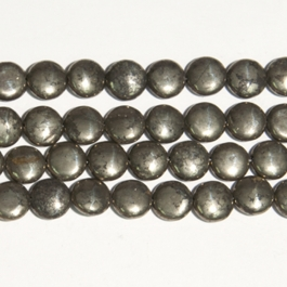 Pyrite 12mm Coin Beads - 8 Inch Strand