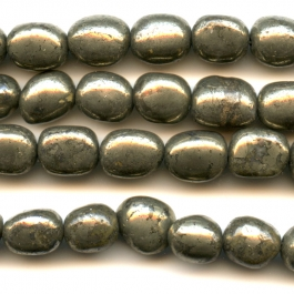 Pyrite 8x10mm  Nugget Beads - 8 Inch Strand