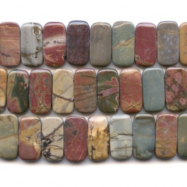 Red Creek Jasper 10x20mm Double Drilled Beads - 8 Inch Strand
