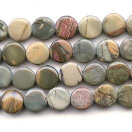 Red Creek Jasper 12mm Coin Beads - 8 Inch Strand