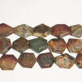 Red Creek Jasper 25x30mm Faceted Hexagon Beads - 8 Inch Strand