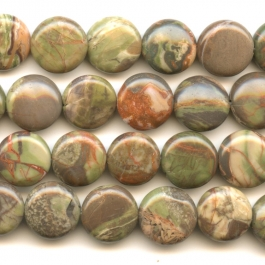 Rainforest Agate 12mm Coin Beads - 8 Inch Strand