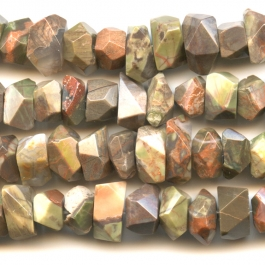 Rainforest Agate 7x12mm Faceted Nugget Beads - 8 Inch Strand