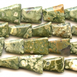 Rhyolite Faceted Trapezoid Beads - 8 Inch Strand