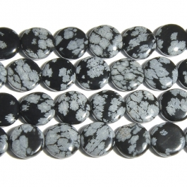 Snowflake Obsidian 12mm Coin Beads - 8 Inch Strand