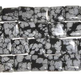 Snowflake Obsidian 12mm Square Beads - 8 Inch Strand