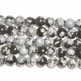 Snowflake Obsidian 4mm Round Beads - 8 Inch Strand