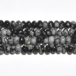 Snowflake Obsidian 4mm Faceted Rondelle Beads - 8 Inch Strand