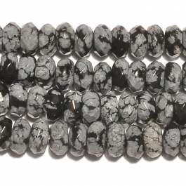 Snowflake Obsidian 8mm Faceted Rondelle Beads - 8 Inch Strand