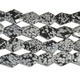 Snowflake Obsidian 25x30mm Faceted Hexagon Beads - 8 Inch Strand
