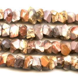 Bird's Eye Rhyolite 7x12mm Faceted Nugget Beads - 8 Inch Strand