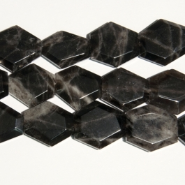 Smoky Quartz 25x30mm Faceted Hexagon Beads - 8 Inch Strand