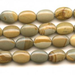 Wildhorse Picture Jasper 10x14mm Oval Beads - 8 Inch Strand