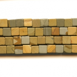 Wildhorse Picture Jasper 6mm Cube Beads - 8 Inch Strand
