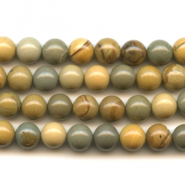 Wildhorse Picture Jasper 8mm Round Beads - 8 Inch Strand
