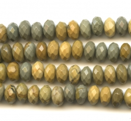 Wildhorse Picture Jasper 8mm Rondelle Faceted Beads - 8 Inch Strand