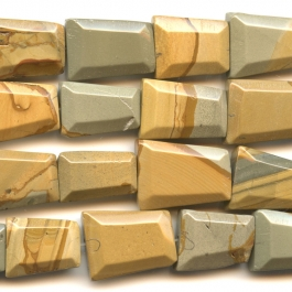 Wildhorse Picture Jasper Faceted Trapezoid Beads - 8 Inch Strand