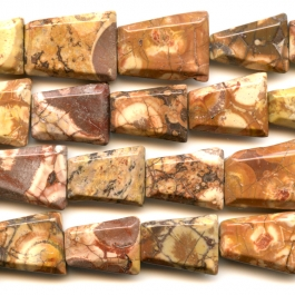 Birds Eye Rhyolite 18x25 Faceted Trapezoid Beads - 8 Inch Strand