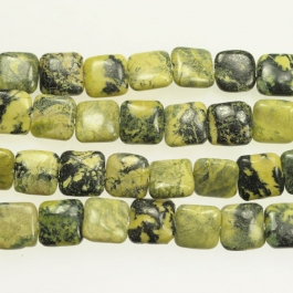 Yellow Turquoise 12mm Square Beads - 8 Inch Strand