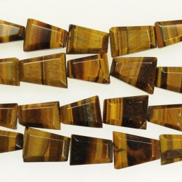 Tiger Eye Faceted Trapezoid Beads - 8 Inch Strand