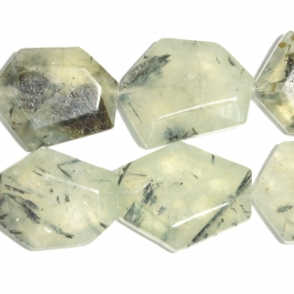 Prehnite Faceted Hexagon Beads - 8 Inch Strand