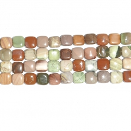 Imperial Jasper 12mm Square Beads - 8 Inch Strand