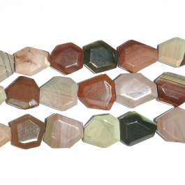 Imperial Jasper Faceted Hexagon Beads - 8 Inch Strand
