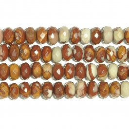 Noreena Jasper 8mm Faceted Rondelle Beads - 8 Inch Strand