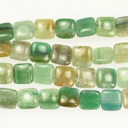 Blue Green Quartz 12mm Square Beads - 8 Inch Strand