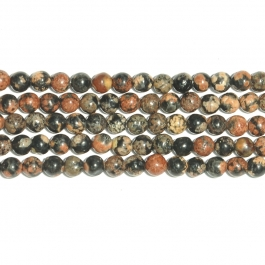 Mexican Red Snowflake Jasper 4mm Round Beads - 8 Inch Strand
