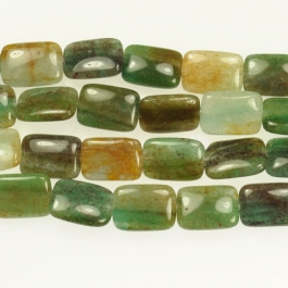 Blue Green Quartz  13x18mm Rectangle Beads - 8 Inch Strand