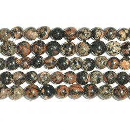 Mexican Red Snowflake Jasper 6mm Round Beads - 8 Inch Strand