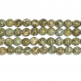 Green Brecciated Jasper 8mm Round Beads - 8 Inch Strand