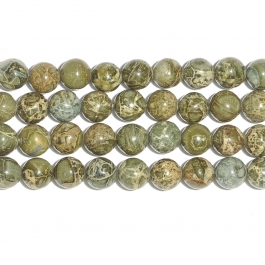 Green Brecciated Jasper 10mm Round Beads - 8 Inch Strand
