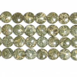 Green Brecciated Jasper 12mm Coin Beads - 8 Inch Strand