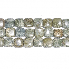 Green Brecciated Jasper 12mm Square Beads - 8 Inch Strand