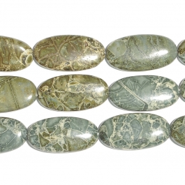Green Brecciated Jasper 15x30 Oval Beads - 8 Inch Strand