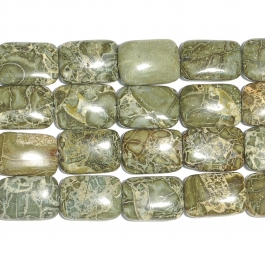 Green Brecciated Jasper 13x18 Rectangle Beads - 8 Inch Strand