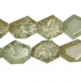 Green Brecciated Jasper Faceted Hexagon Beads - 8 Inch Strand