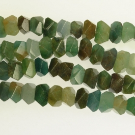 Blue Green Quartz 7x12mm Faceted Nugget Beads - 8 Inch Strand