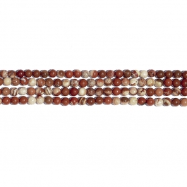 White Lace Red Jasper 6mm Round Beads - 8 Inch Strand