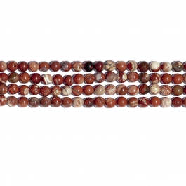 White Lace Red Jasper 8mm Round Beads - 8 Inch Strand