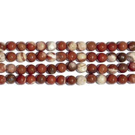 White Lace Red Jasper 10mm Round Beads - 8 Inch Strand