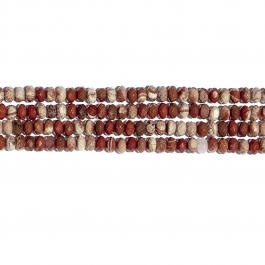 White Lace Red Jasper 8mm Faceted Rondelle Beads - 8 Inch Strand