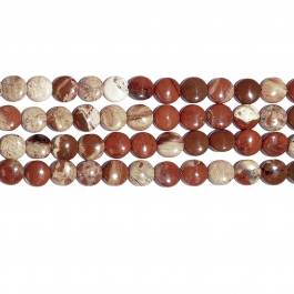 White Lace Red Jasper 12mm Coin Beads - 8 Inch Strand