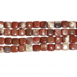 White Lace Red Jasper 12mm Square Beads - 8 Inch Strand