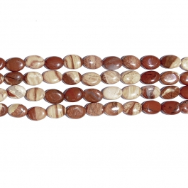 White Lace Red Jasper 10x14 Oval Beads - 8 Inch Strand