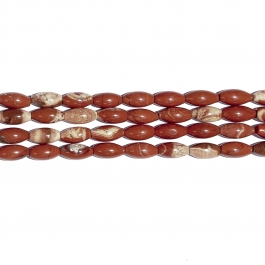 White Lace Red Jasper 8x16 Rice Beads - 8 Inch Strand