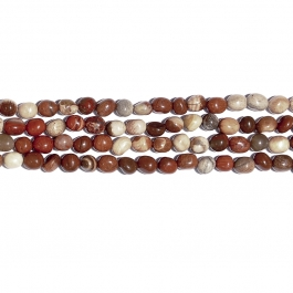 White Lace Red Jasper 8x10 Tumble Nugget Beads - 8 Inch Strand